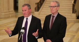 Sinn Féin's Conor Murphy (left) and Gerry Kelly speaking to the media in the great hall of Stormont Parliament buildings in Belfast  on Monday. Photograph: Niall Carson/PA Wire