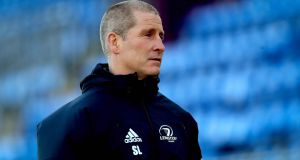 Senior coach Stuart Lancaster at  Leinster rugby squad training at Energia Park, Donnybrook on Monday.  Photograph: Ryan Byrne/Inpho