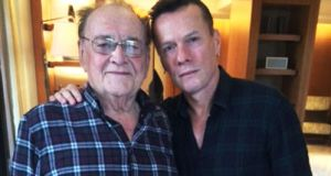 Larry Gogan and U2's Larry Mullen pictured ahead of U2's Innocence + Experience Tour at London's O2