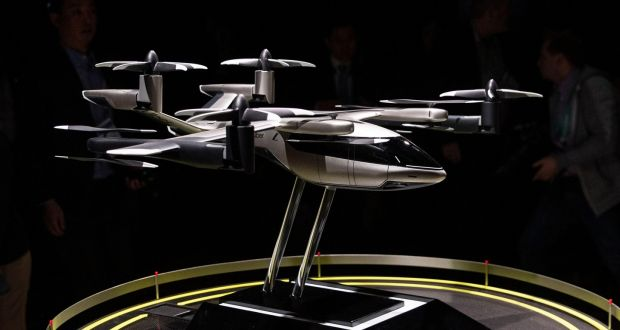 A model of the Hyundai and Uber Elevate urban air taxi concept S-A1. Photograph: Etienne Laurent/EPA