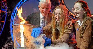 Young Scientist co-founder Dr Tony Scott with two first-year students from Loreto Foxrock at the Young Scientist event launch in 2017. Photograph: Eric Luke/The Irish Times