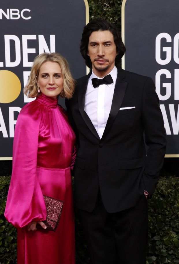 Adam Driver with his wife Joanne Tucker at the Golden Globe Awards ceremony. Photograph: Nina Prommer/EPA
