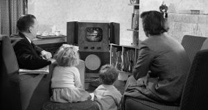 A family watches television at home on June 20th, 1950. Photograph: Keystone Features/Getty Images
