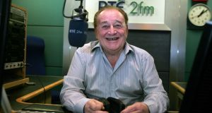 DJ Larry Gogan, who's death was announced on Tuesday, January 7th, 2020,  in the RTÉ 2FM studio in 2010. Photograph: Eric Luke/The Irish Times