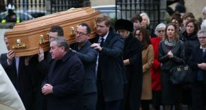 The coffin arrives at the funeral of broadcaster Marian Finucane at St Brigid's Church in Kill, Co Kildare. Photograph: Laura Hutton/The Irish Times