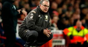 Leeds United's Argentinian manager Marcelo Bielsa watches from the touchline at The Emirates Stadium. Photograph: Getty Images