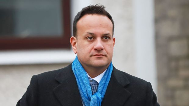 Taoiseach Leo Varadkar attends the funeral of Marian Finucane in Kill, Co Kildare. Photograph: Niall Carson/PA Wire