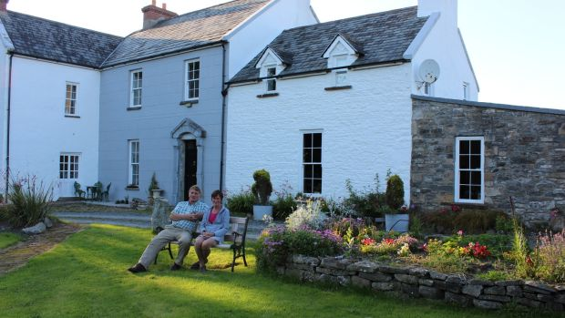 NIgel Barnes and Pepie O'Sullivan outside their home and workshops at Clooneenagh House in Co Clare