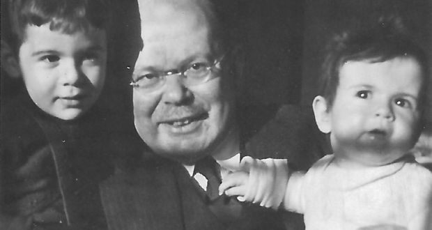 Ursula with her grandfather Hans and her brother Peter in 1938