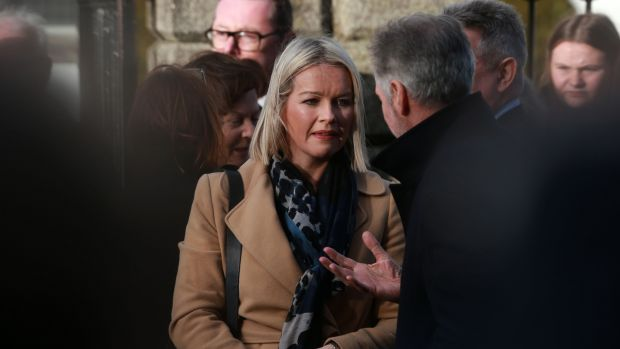 Claire Byrne at the funeral of Marian Finucane at St Brigid's Church in Kill, Co Kildare. Photograph: Laura Hutton/The Irish Times