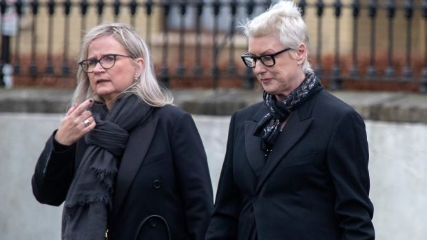 RTÉ director-general Dee Forbes and RTÉ chair Moya Doherty attend the funeral of Marian Finucane at St Brigid's Church, Kill, Co Kildare. Photograph: Colin Keegan/Collins