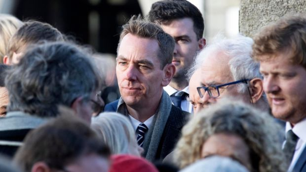 Ryan Tubridy attends the funeral of RTÉ broadcaster Marian Finucane at St Brigid's Church, Kill, Co Kildare. Photograph: Colin Keegan/Collins