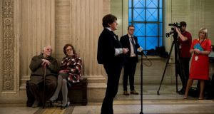 Leader of the Democratic Unionist Party Arlene Foster speaks to media in the great hall of Stormont Parliament buildings in Belfast. Photograph: Liam McBurney/PA Wire