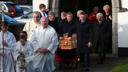 MARIAN'S FAREWELL: A coffin bearing the remains of broadcaster Marian Finucane leaves St Brigid's Church in Kill, Co Kildare, at her funeral Mass. Photograph: Laura Hutton