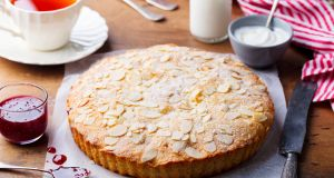 A bakewell tart can be prepared one or two days ahead of time, and slices beautifully.