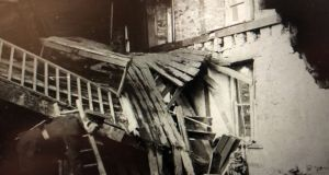 Surveying the damage after a raid on the RIC barracks in Ballytrain, Co Monaghan, on February 15th, 1920. Eoin O'Duffy praised the RIC men's courage. Before withdrawing, the raiders left bandages for the injured, having failed to find a doctor.
