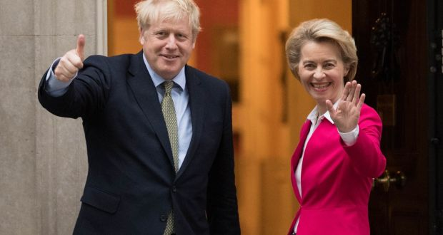 Boris Johnson greets EU Commission president Ursula von der Leyen ahead of a meeting in Downing Street. Photograph: PA