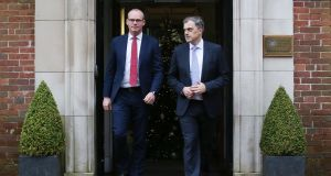 Tánaiste Simon Coveney and Northern Secretary Julian Smith focused talks on Wednesday night on persuading the DUP and Sinn Féin to sign up to an agreement. Photograph: Presseye/PA Wire