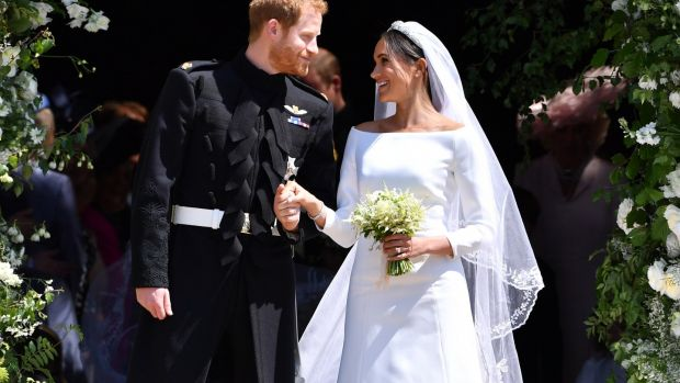 Prince Harry and Meghan Markle during their wedding at Windsor Castle in May 2018. Photograph: Ben Stansall/WPA Pool/Getty Images