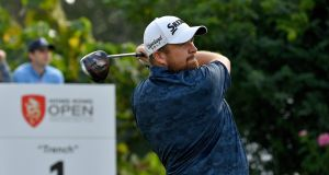 Shane Lowry of Ireland during the first round of the Hong Kong Open. Photograph: Getty Images