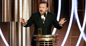 Ricky Gervais hosts the Golden Globe awards in Beverly Hills, the US,  on Monday. Photograph: Paul Drinkwater/NBCUniversal Media, LLC via Getty Images