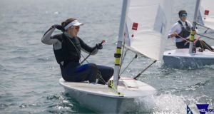 Annalise Murphy competing at the Australian Laser Radial National Championships in Melbourne. Photograph: John West/Sail Melbourne