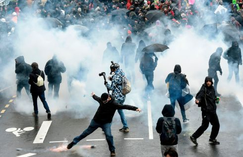 FRANCE PROTESTS: Tear gas is fired by French police during a nationwide strike over pension reform plans, in Nantes. Photograph: Sebastien Salom-Gomis/AFP via Getty Images