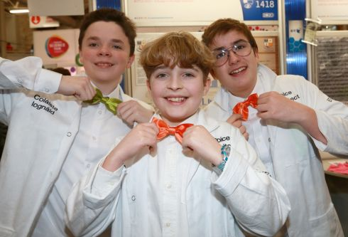 YOUNG SCIENTISTS: (L to R) Riain Kennedy, Andrew Gordon and Reuben Florisson from Coláiste Iognáid SJ Galway at the BT Young Scientist exhibition at the RDS. Photograph: Laura Hutton/The Irish Times