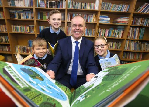 NEW CHAPTER: Minister for Education Joe McHugh at St Malachy's Senior School, Finglas, Dublin, to announce a new €1m fund to provide free school books. Photograph: Mark Stedman