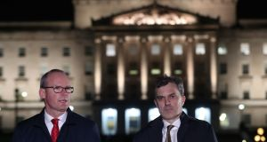 Tánaiste Simon Coveney and Northern Secretary Julian Smith outside Stormont parliament buildings in Belfast. Photograph: Niall Carson/PA Wire