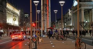The Spire and the pedestrian island at night in O'Connell street . File photograph: Eric Luke / The Irish Times