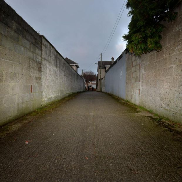 1981, Dublin 11: the lane linking Willow Park Avenue and Glasnevin Avenue. A pedestrian found a string bag here one January morning. Inside was the body of a baby boy. Photograph: Alan Betson