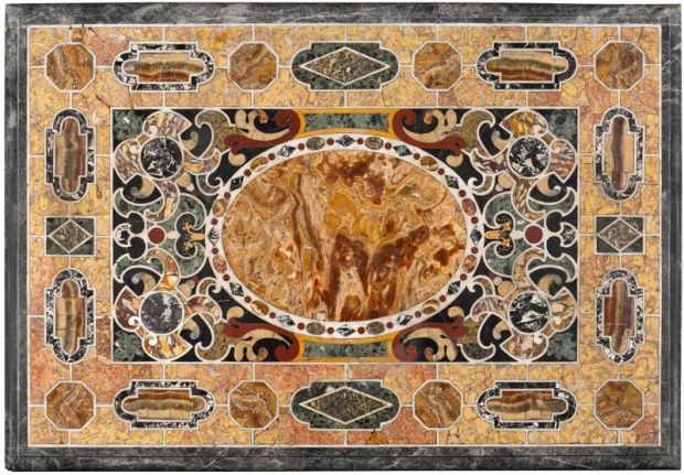 The top of an Italian pietre tenere and pietra dura table, from Killadoon House. Photograph: Sotheby's