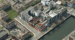An aerial view of the site at Usher's Quay in Dublin city centre