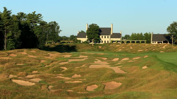 The 520-yard par 4, 18th hole at Whistling Straits in Wisconsin. Photograph: David Cannon/Getty