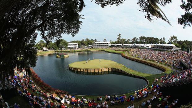 A view of the 17th green at TPC Sawgrass. Photograph: Richard Heathcote/Getty