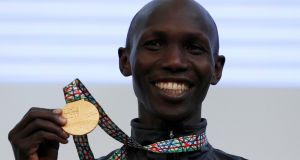 Wilson Kipsang after winning gold in the Tokyo Marathon in 2017. File photograph: Toru Hanai/Reuters