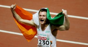 David Gillick celebrates  winning the 400m final at the  European Indoor Athletics Championships in Madrid in 2005.  Photograph: Victor Fraile/Reuters