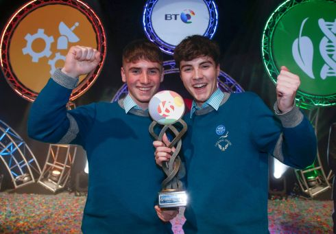 YOUNG SCIENTISTS: Alan O'Sullivan (left) and Cormac Harris and from Colaiste Choilm, Cork, whose BT Young Scientist and Technology project, 'A statistical investigation into the prevalence of gender stereo-typing in 5-7 year olds and the development of an initiative to combat gender bias' won this year's title BT Young Scientists of the Year. Photograph: Crispin Rodwell/The Irish Times