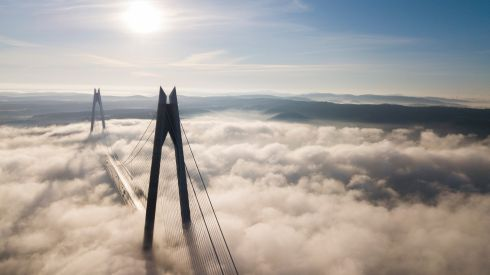 IN THE CLOUDS: An aerial picture taken by drone shows Yavuz Sultan Selim Bridge under heavy fog at the Bosphorus in Istanbul, Turkey on Friday. Photograph: Tolga Bozoglu/EPA
