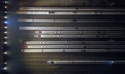 ON TRACK: An aerial view of parked EMU (electric multiple unit) trains on the first day of the annual Spring Festival travel rush, in Nanjing, Jiangsu Province, China. A total of three billion trips are expected during China's annual Spring Festival mass travel this year, as millions of Chinese travel back to their hometowns to celebrate with their families the Chinese Lunar New Year or Spring Festival, which falls on January 25th, 2020 and will mark the Year of the Rat. Photograph: Meng Delong/EPA