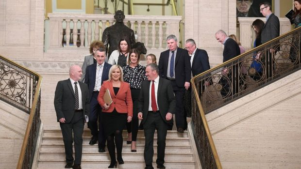 Michelle O'Neill of Sinn Féin leads her party into the chamber in Stormont. Photograph: Michael Cooper/PA