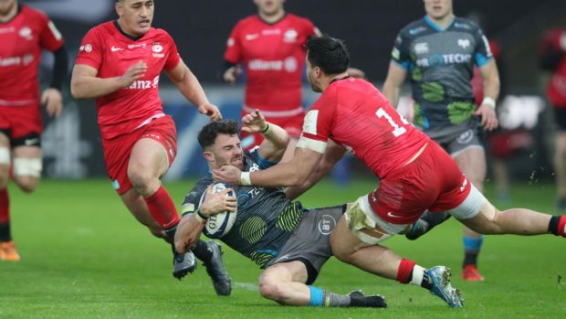 Alun Wyn Jones Luke Morgan is tackled by Sean Maitland during the Ospreys' defeat to Saracens. Photograph: David Davies/PA