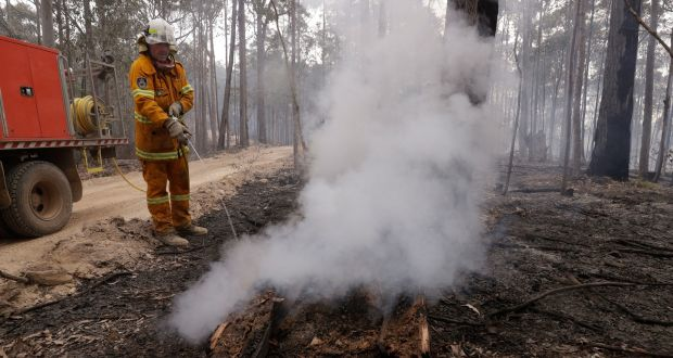 A firefighter patrols a controlled fire  near Bodalla, Australia. Photograph: Rick Rycroft/AP Photo