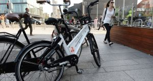 Customers will be able to electronically unlock the bikes using an app on their smartphone which will also allow them to locate available bikes.  Photograph: Dara Mac Donaill / The Irish Times