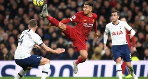 Liverpool goalscorer Roberto Firmino in action during Saturday's win over Tottenham. Photograph: Richard Heathcote/Getty Images