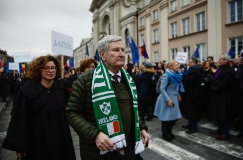 JUDGMENT CALL: Supreme Court judge John MacMenamin takes part in the 'Thousand Scarlet Robes' march in Warsaw against Poland's judicial reforms. Photograph: Omar Marques/Getty Images