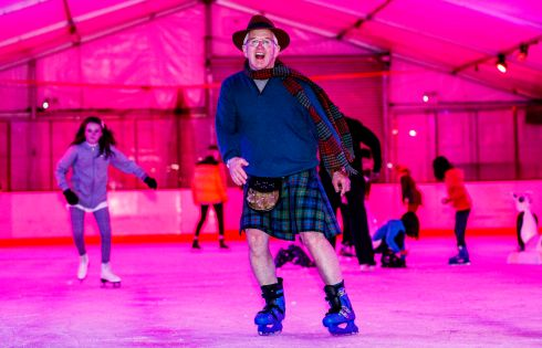 OFF KILTER: Don Cummer from Ottawa, Canada, who hosted the first ever kilt-skate in Ireland at South Dublin on Ice, Tallaght Stadium on Saturday night. The tradition marks the birthday of Canada's first prime minister John A MacDonald. Photograph: Oisín Keniry