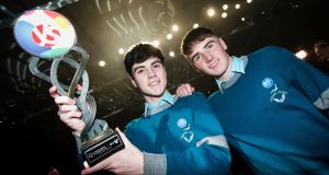 The winners of the 56th BT Young Scientist & Technology Exhibition were Cormac Harris and Alan O'Sullivan, both aged 16, fourth-year students from Coláiste Choilm, Cork, for their project on gender bias. Photograph: Chris Bellew/Fennell Photography