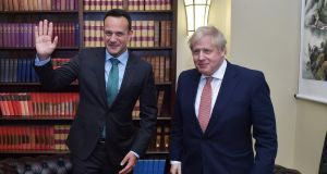 Taoiseach Leo Varadkar and British prime minister Boris Johnson meet at Stormont  in Belfast, Northern Ireland. Photograph: Charles McQuillan/Getty Images